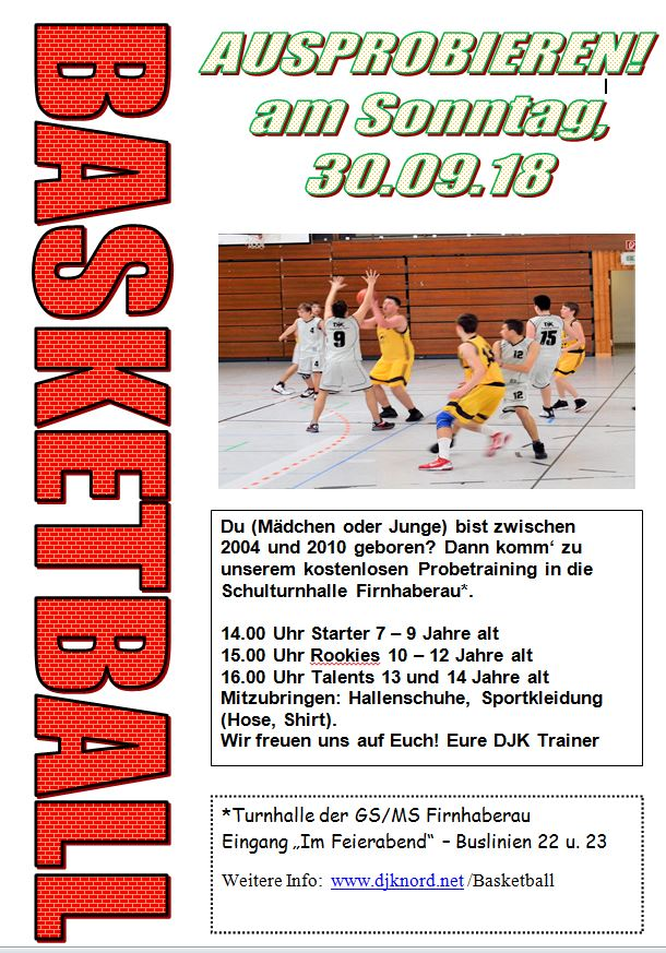 Basketball Schnuppertraining 2018